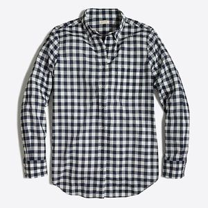 JCrew Navy and white checked button down. Size S